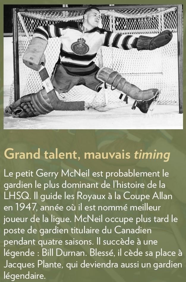 Gerry McNeil dans l'uniforme des Royaux de Québec
