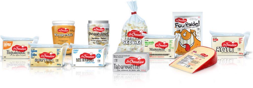 Les produits de la fromagerie La Chaudière