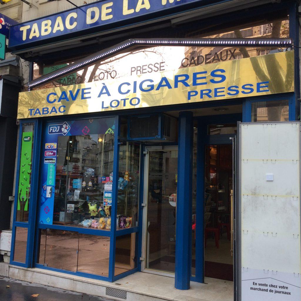 Cave à cigares, avenue du Maine, Paris, novembre 2016