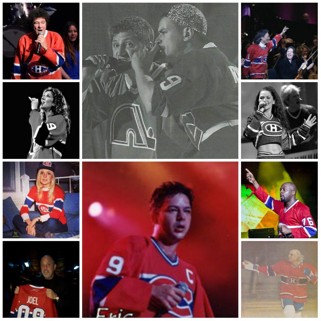 Dix artistes portant le maillot des Canadiens de Montréal, collage