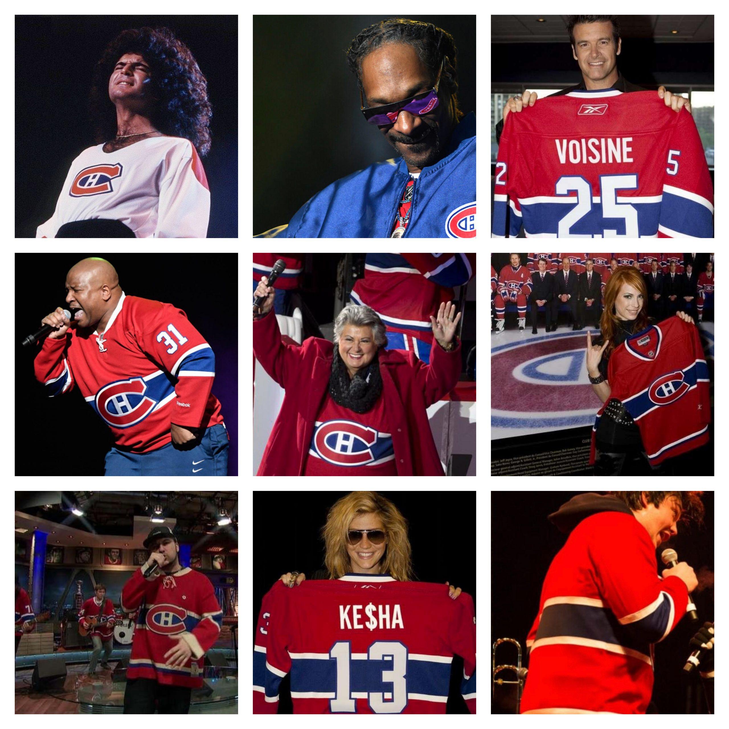 Collage de neuf artistes portant le maillot des Canadiens de Montréal