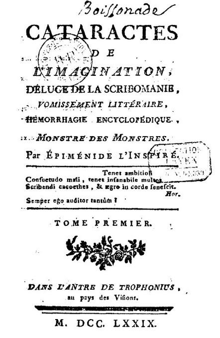 Cataractes de l'imagination, 1779, page de titre