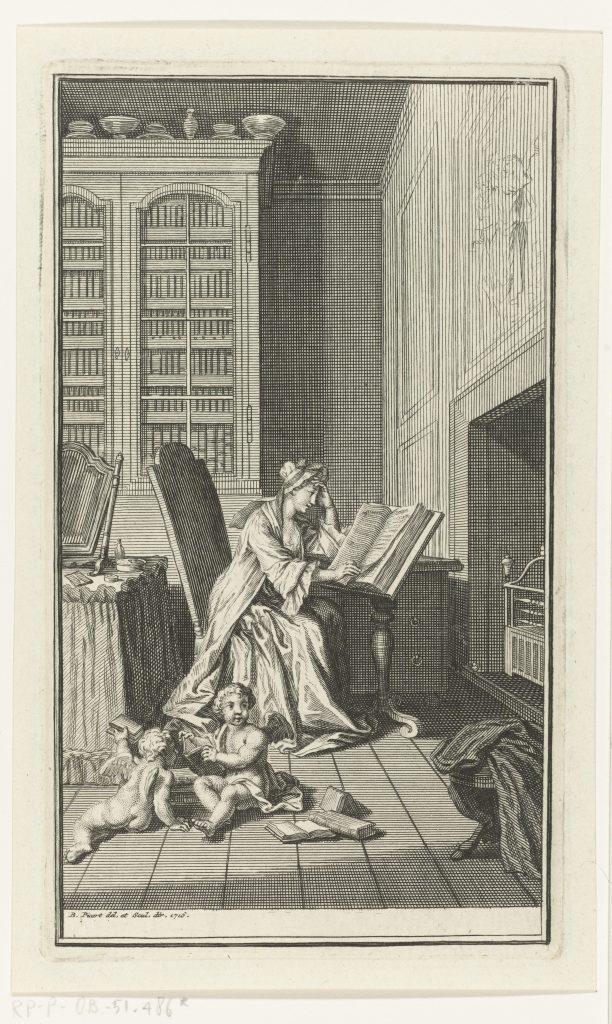 Une femme lisant un livre dans sa bibliothèque, atelier de Bernard Picart, 1716