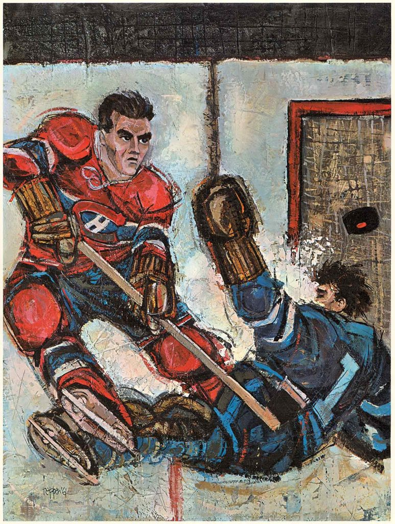 """Tableau de Jack Reppen, «#5 in the Prudential Collection """"Great Moments in Canadian Sport""""», 1961"""