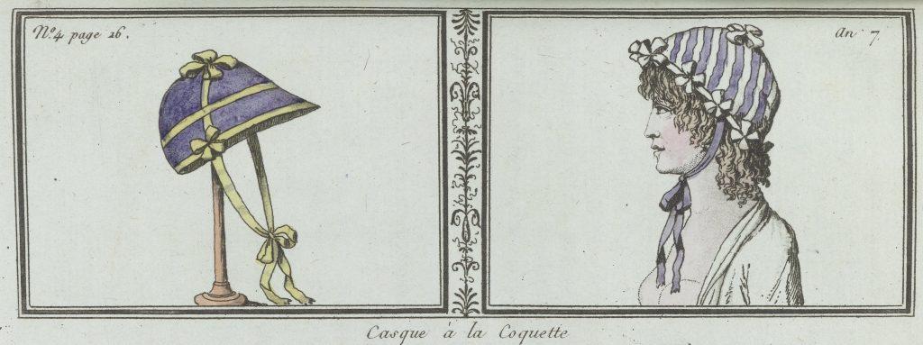 «Casque à la coquette», gravure de L.F. Labrousse (?), 1798-1799