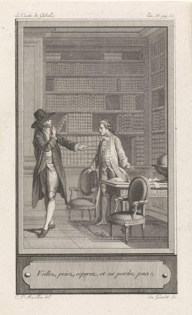 Deux hommes en conversation, gravure, 1786