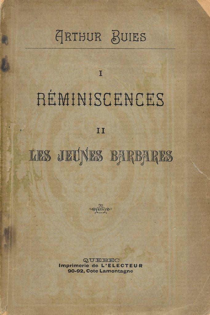 Arthur Buies, Réminiscences, 1892, couverture