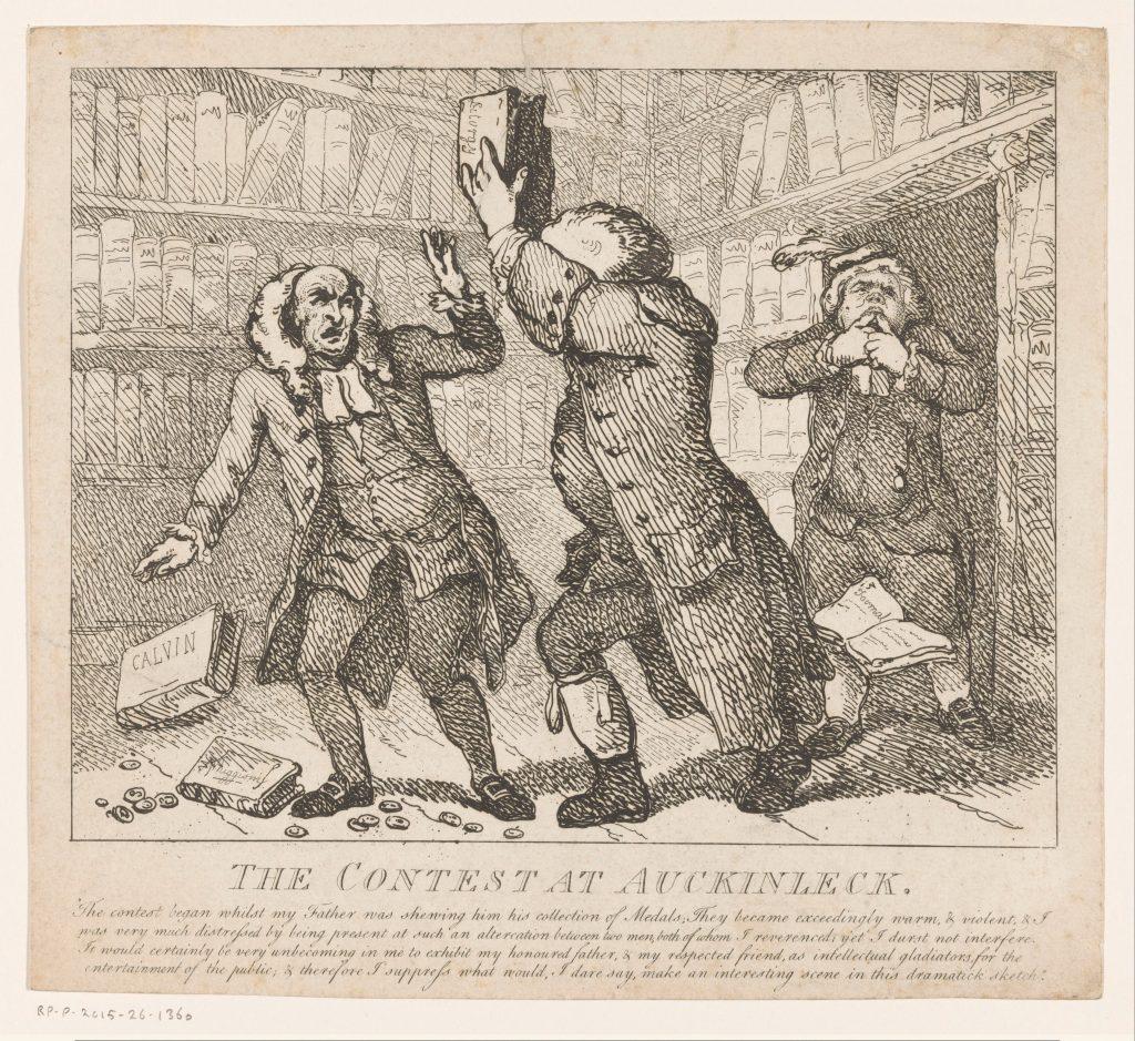 «The Contest at Aucklinleck», gravure de Thomas Rowlandson, Londres, 1786