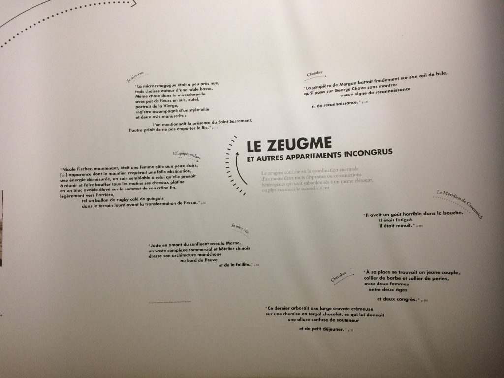 Exposition Echenoz, Paris, 2017, zeugmes