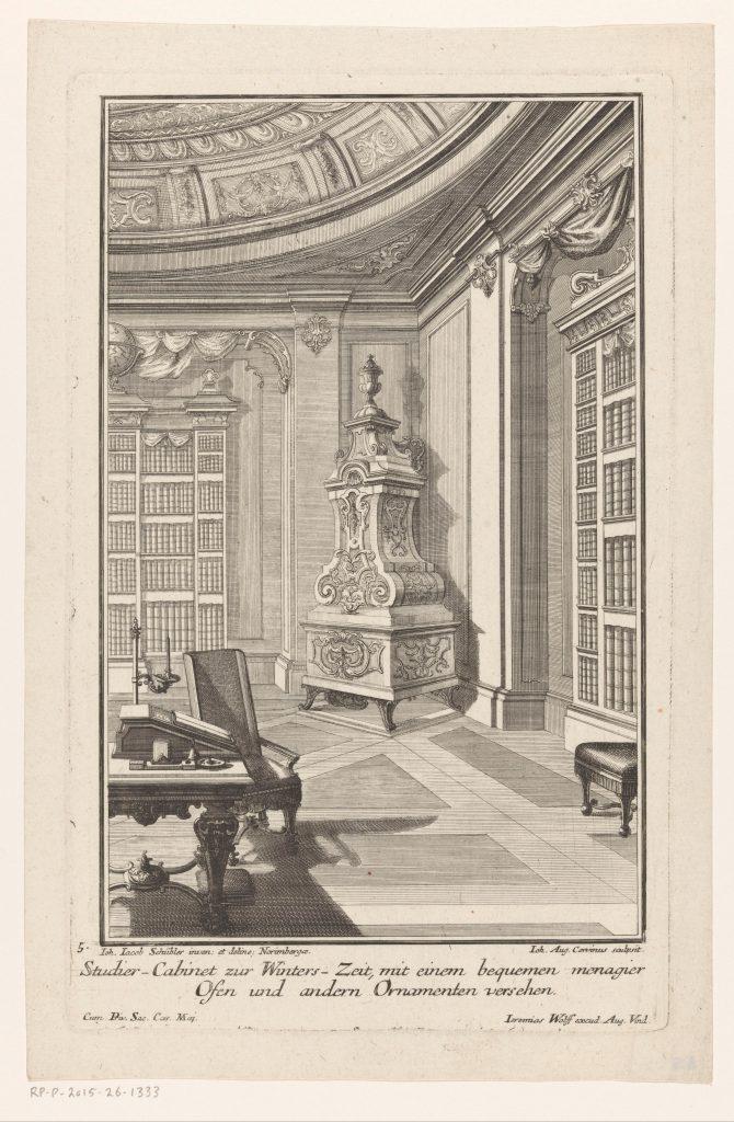 Cabinet d'étude avec cheminée, gravure, 1724 (?), Rijksmuseum, Amsterdam