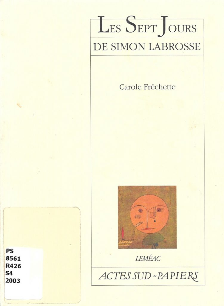 Les Sept Jours de Simon Labrosse, 2003, couverture