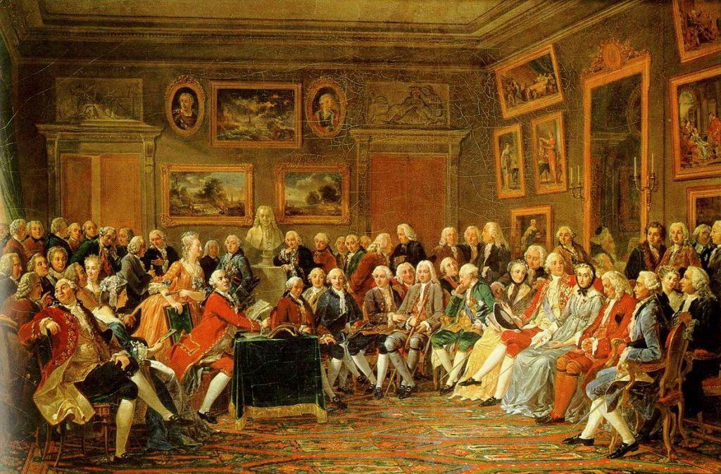 Lemonnier, «Première lecture, chez Madame Geoffrin, de L'Orphelin de la Chine, tragédie de Voltaire, en 1755», 1812