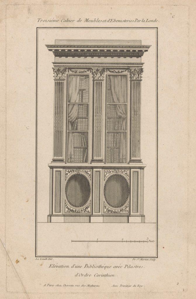 «Élévation d'une bibliothèque avec pilastres d'ordre corinthien», gravure de Richard de La Londe et de Saint-Morien, 1784-1785