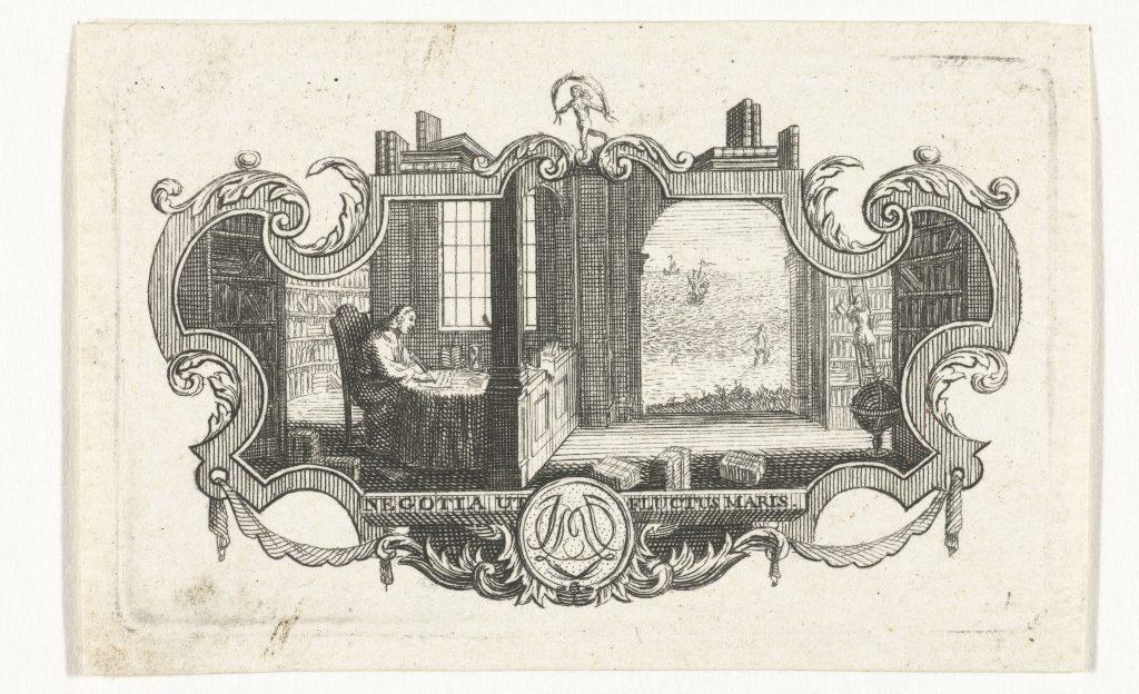 Savant dans une bibliothèque, gravure d'Abraham Delfos, Leiden, 1741-1820