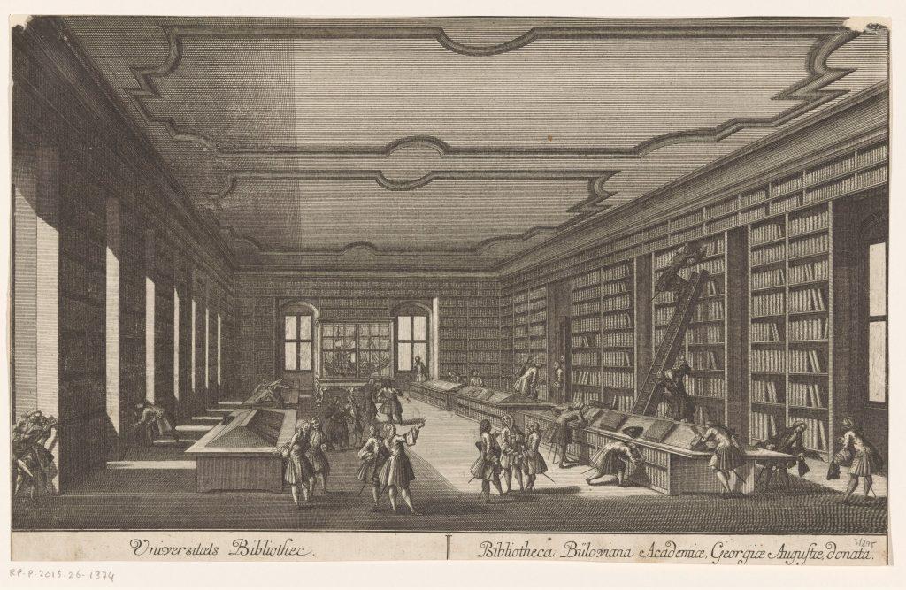 Vue de la bibliothèque de l'Université de Göttingen, gravure anonyme, 1734-1800