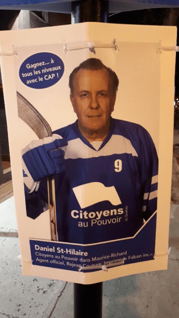 Affiche électorale de Daniel St-Hilaire en joueur de hockey, 2018