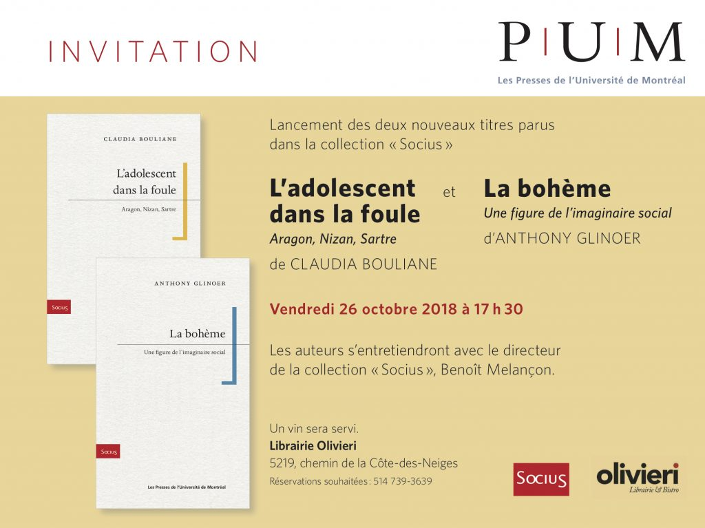 Collection «Socius», invitation, 26 octobre 2018