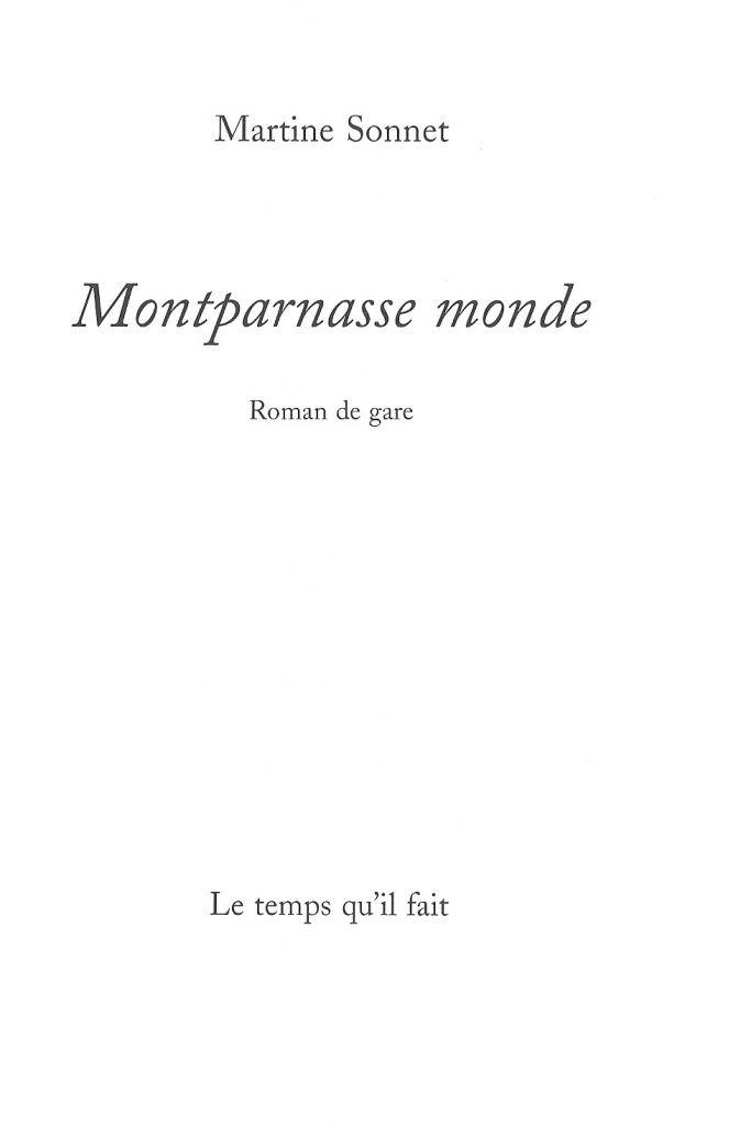 Martine Sonnet, Montparnasse monde, 2011, page de couverture