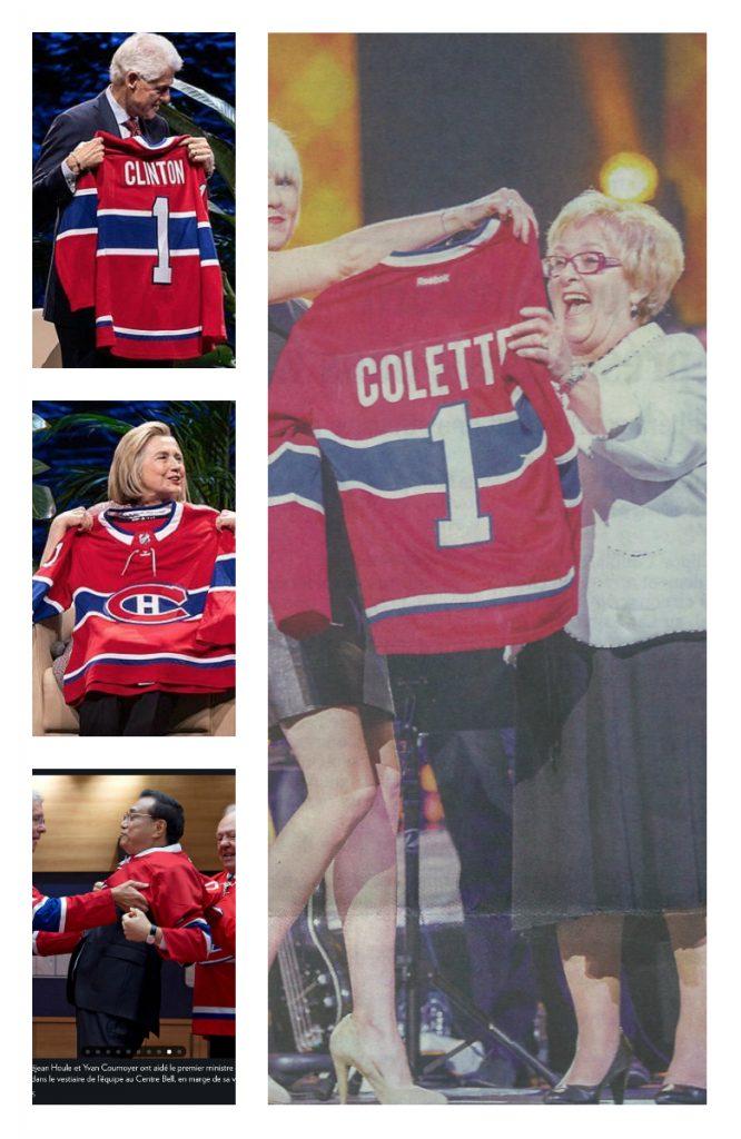 Quatre personnalités politiques avec le chandail des Canadiens