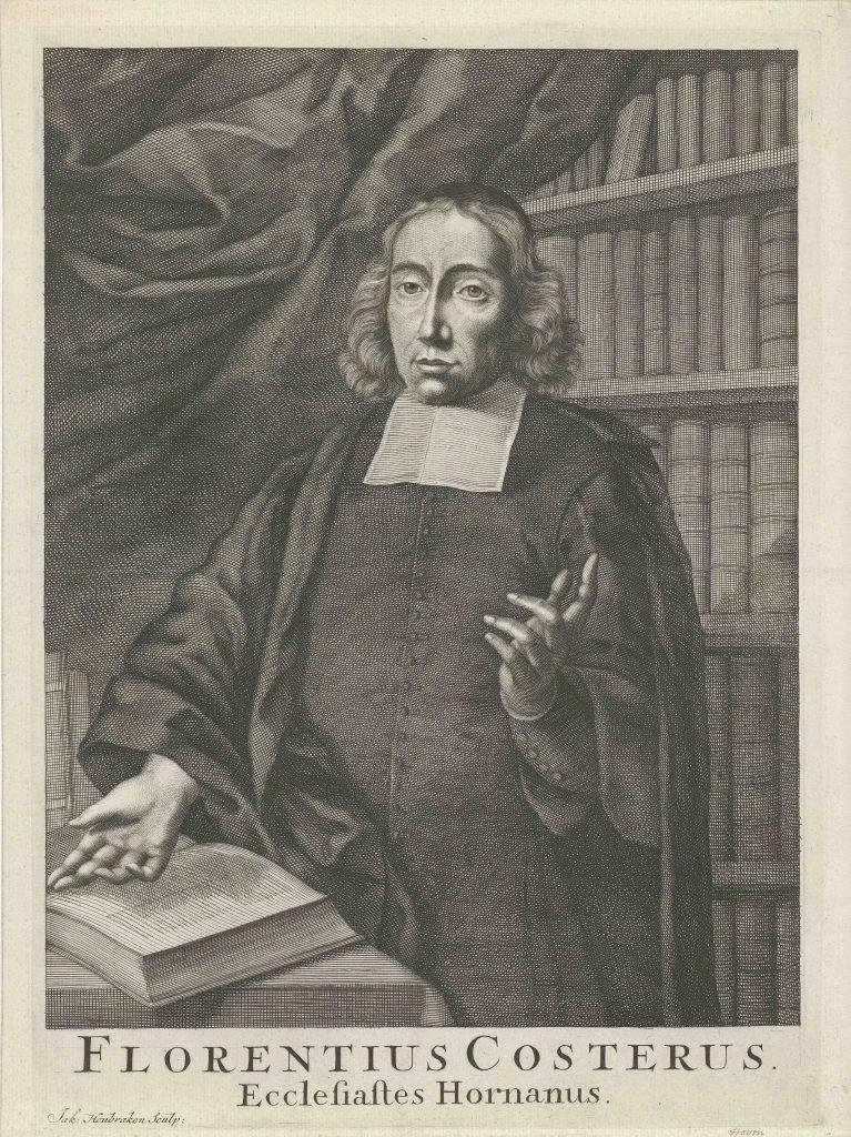 Portrait de Florentius Costerus, gravure de Jacob Houbraken, Amsterdam, 1708-1780