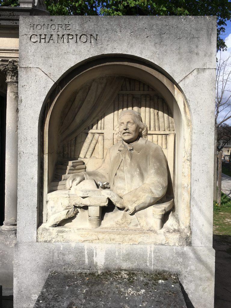 Tombe d'Honoré Champion, cimetière Montparnasse, Paris, avril 2019