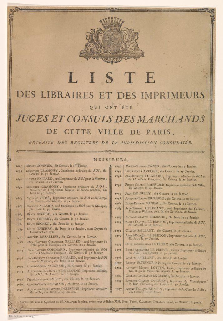 «Liste des libraires et des imprimeurs qui ont été juges et consuls des marchands de cette ville de Paris», 1787 (?), Rijksmuseum, Amsterdam