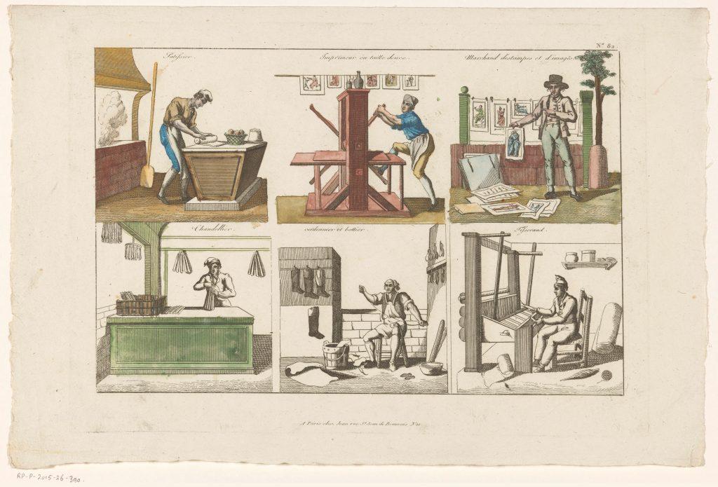 Six professions, gravure anonyme, Paris, circa 1800
