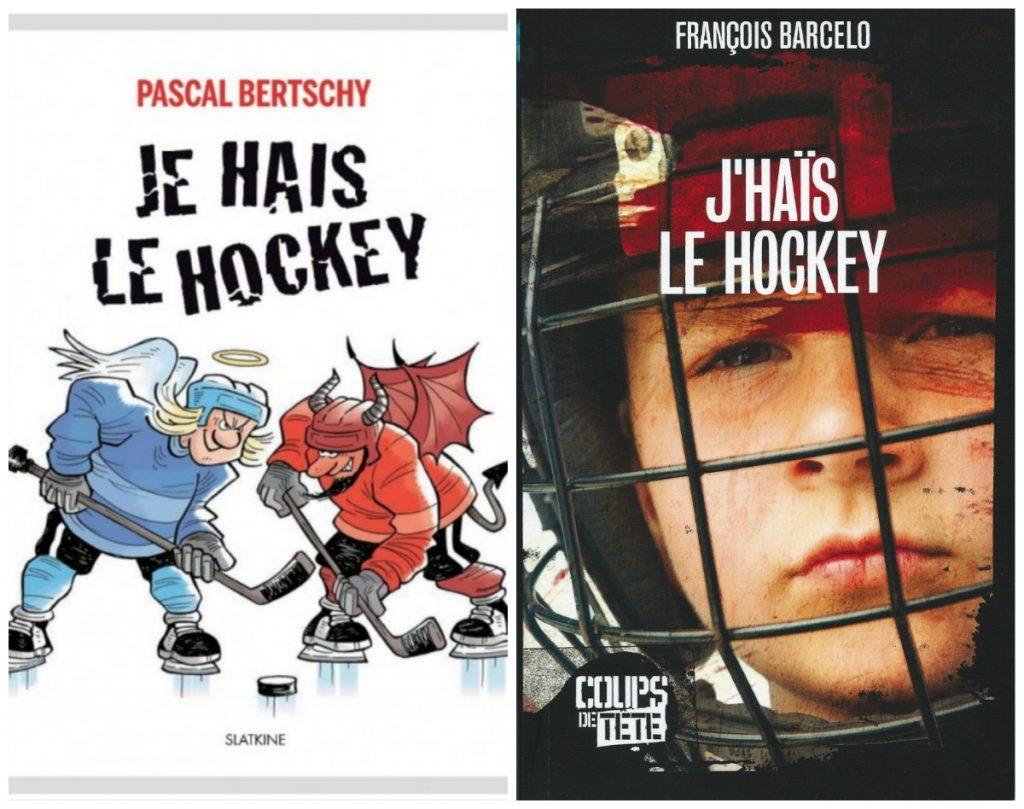 Je hais le hockey : deux couvertures de livre