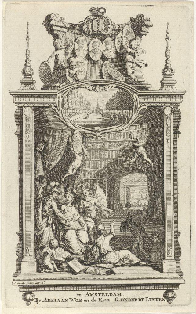 Écriture dans une bibliothèque, gravure d'Adolf van der Laan, première moitié du XVIIIe siècle
