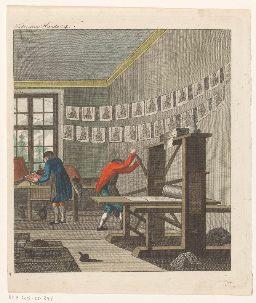 Intérieur d'une imprimerie, gravure anonyme, entre 1750 et 1850, Rijksmuseum, Amsterdam
