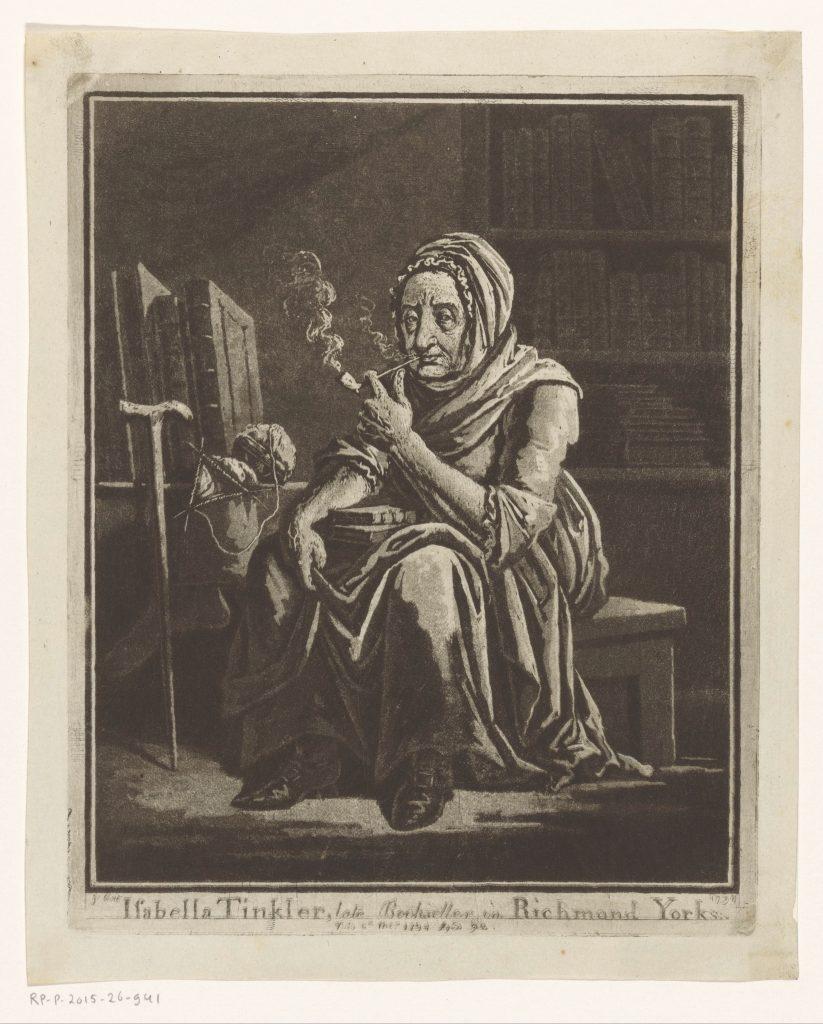 Portrait de la libraire Isabella Tinkler de Richmond à l'âge de 92 ans, gravure de George Cuitt, avant ou en 1794, Rijksmuseum, Amsterdam