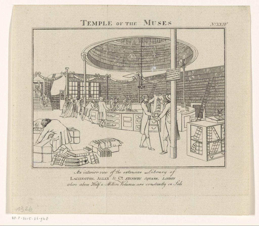 «Temple of the Muses», gravure de John Walker, Londres, ca 1798 - ca 1822
