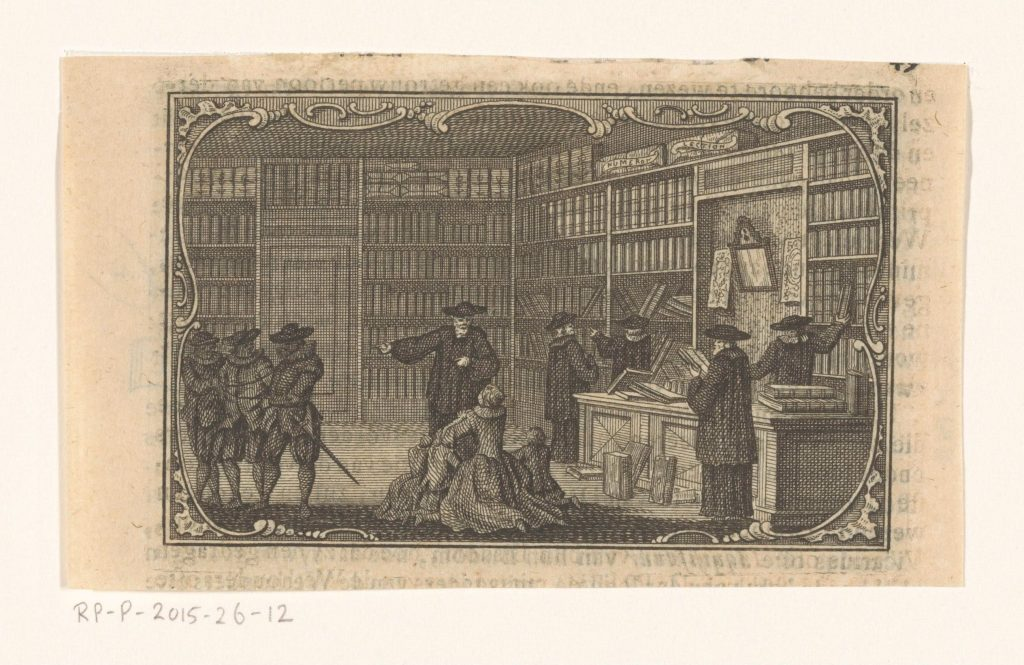 Inspection d'une librairie, gravure anonyme, 1762