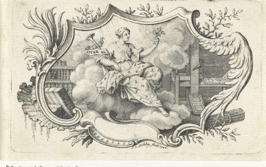 Personnification de la presse à imprimer, gravure de Jacob van der Schley, Amstrerdam, 1746