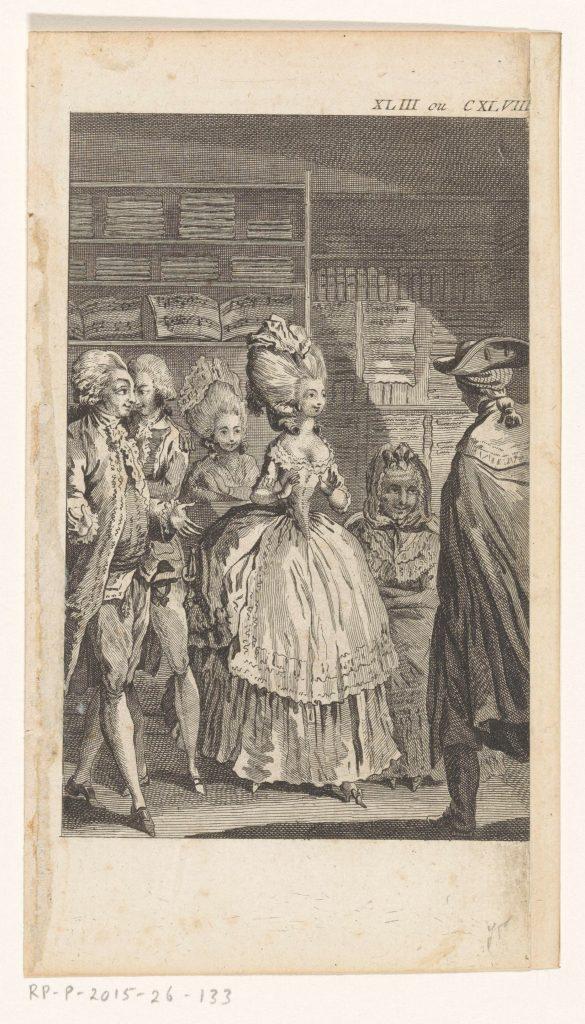 Jeune vendeuse avec des clients dans un magasin, avec des partitions, gravure anonyme, Paris, 1782