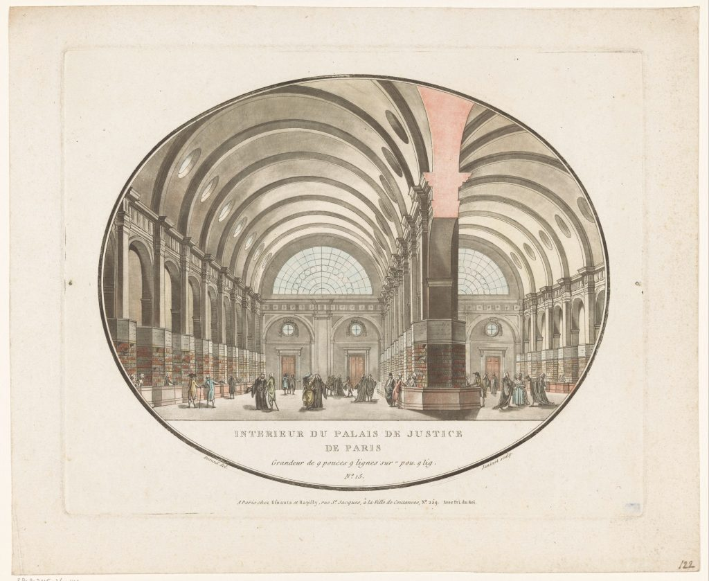 «Intérieur du Palais de justice de Paris», gravure de Jean François Janinet, 1787, Rijksmuseum, Amsterdam