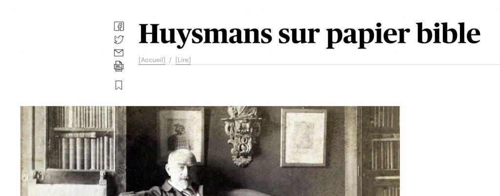 «Huysmans sur papier bible», le Devoir, 14-15 décembre 2019