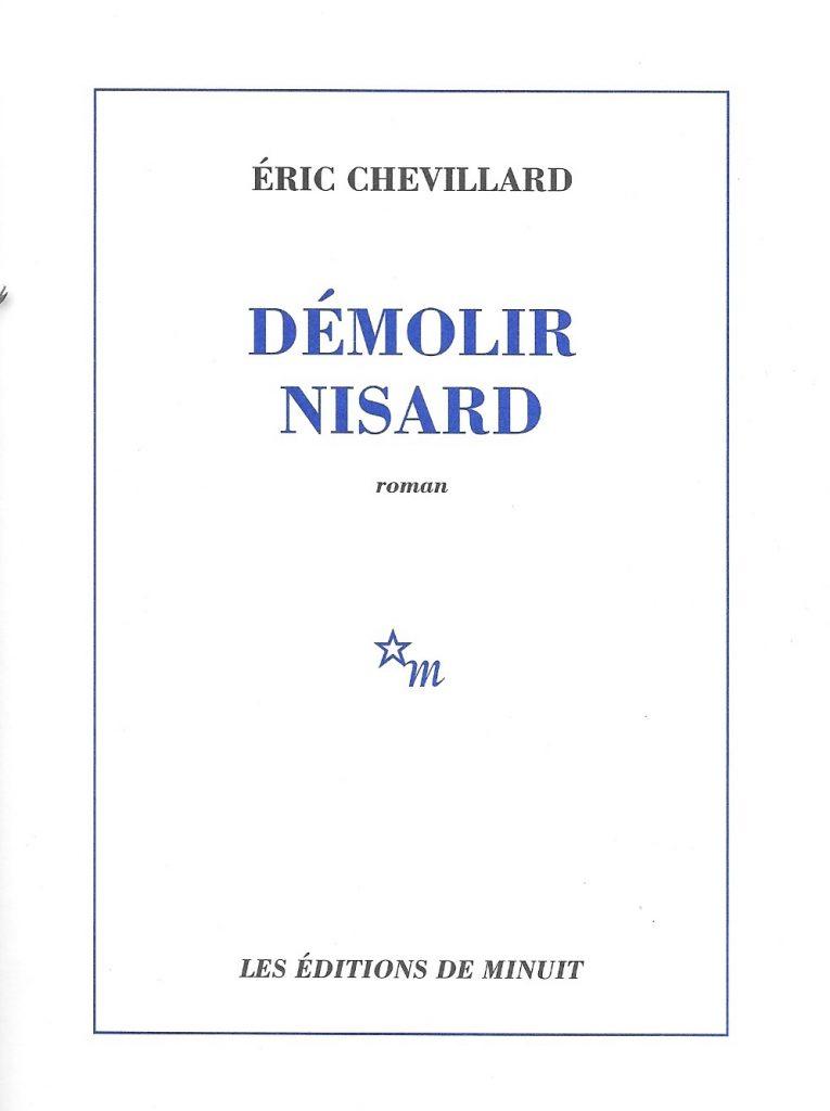 Éric Chevillard, Démolir Nisard, 2006, couverture