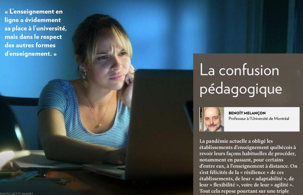 Benoît Melançon, «La confusion pédagogique», la Presse+, 7 avril 2020