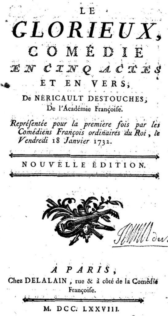 Destouches, le Glorieux, éd. de 1778, page de titre