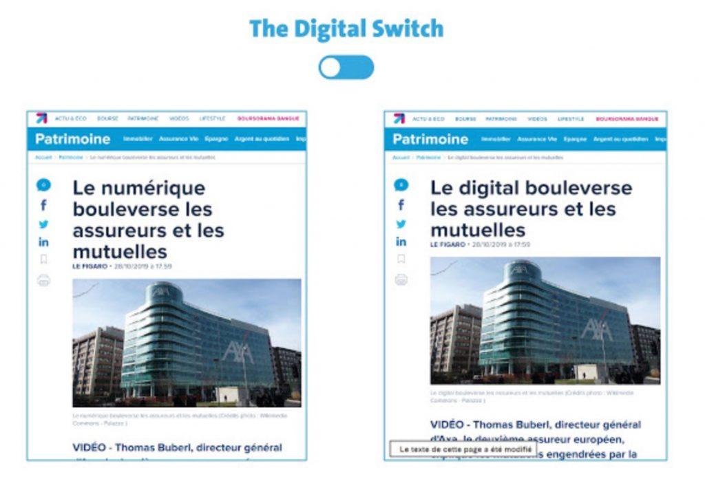 Extension «The Digital Switch», pour fureteur Chome, exemple