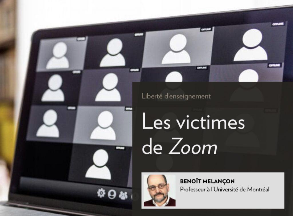 Benoît Melançon, «Les victimes de Zoom», la Presse+, 2 février 2021, titre