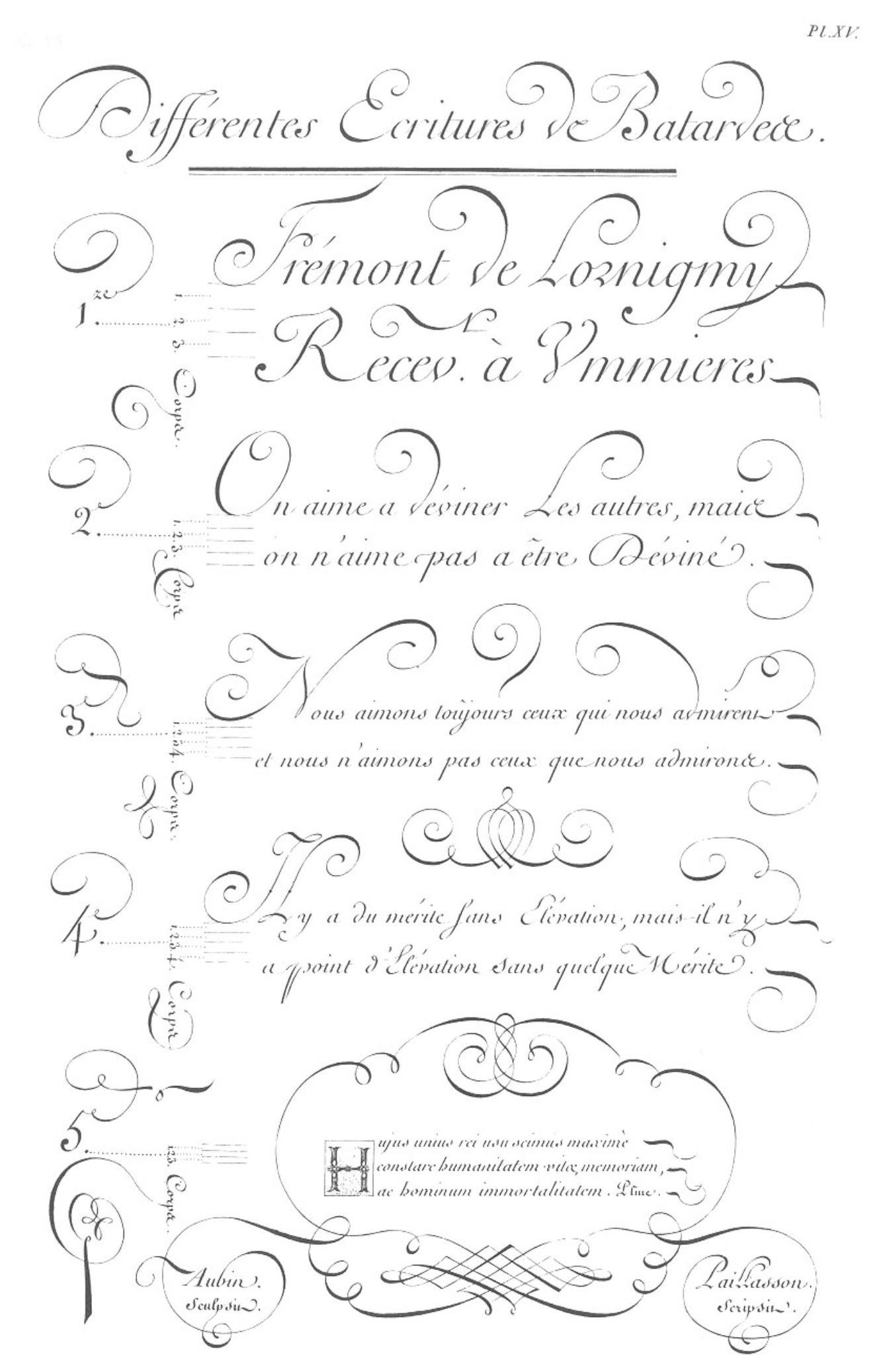 «Écritures», gravure d'Aubin, deuxième volume des planches de l'Encyclopédie, Paris, 1763, planche XV