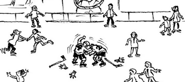 Nick Downes, «Chistmas At The Ice Rink», The New Yorker, 16 décembre 2019, détail