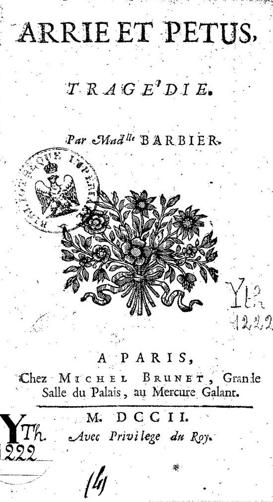 Marie-Anne Barbier, Arrie et Pétus, éd. de 1702, page de titre