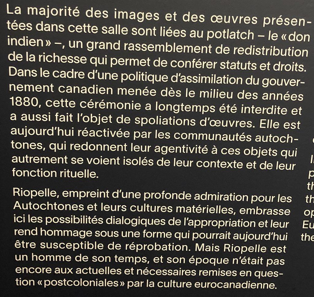 Exposition «Riopelle. À la rencontre des territoires nordiques et des cultures autochtones», Montréal, 2021, détail d'une explication
