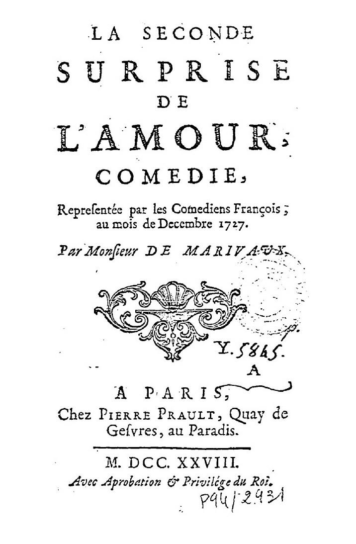 Marivaux, la Seconde Surprise de l'amour, éd. de 1728, page de titre